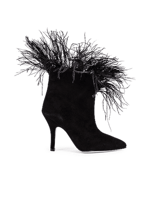 Paris Texas for FWRD Suede Stiletto Ankle Boot with Marabou Feathers in Black - Black. Size 36 (also in 37.5).