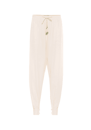 High-rise tapered silk pants