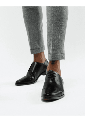 ASOS DESIGN oxford shoes in black leather with toe cap