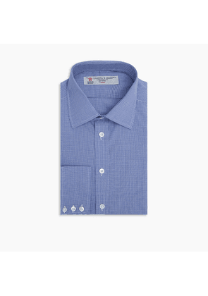 Navy Micro-Check Cotton Shirt with Classic T & A Collar and Button Cuffs