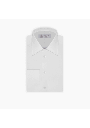 White-on-White Mini Square Cotton Shirt with Classic T & A Collar.