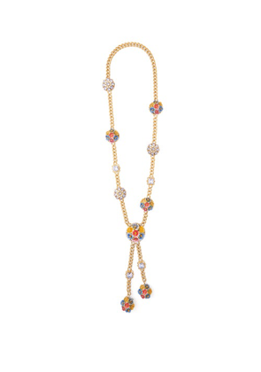 Dolce & Gabbana - Flower & Crystal Drop Necklace - Womens - Multi