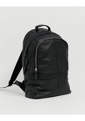 ASOS DESIGN leather backpack in black with double zips
