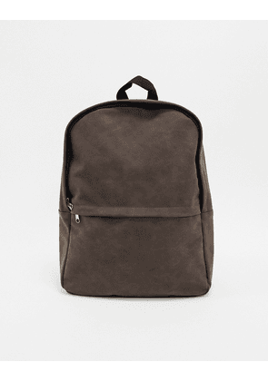 ASOS DESIGN backpack in brown faux leather