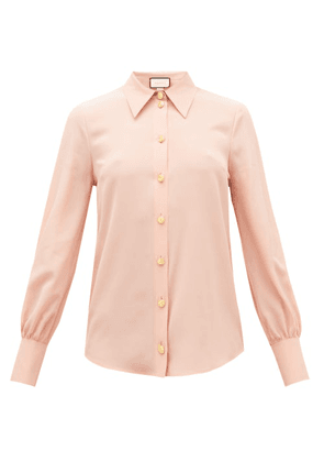 Gucci - Anchor-button Silk-crepe Blouse - Womens - Pink