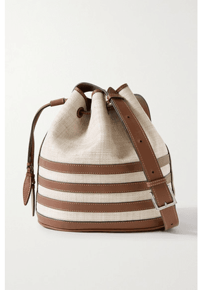 Hunting Season - Leather-trimmed Raffia Bucket Bag - Brown