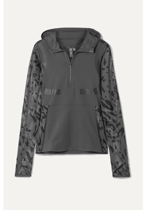 adidas by Stella McCartney - + Parley For The Oceans Run Hooded Printed Climalite Top - Dark gray