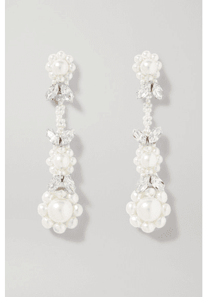 Simone Rocha - Victorian Silver-tone Crystal And Faux Pearl Earrings - one size