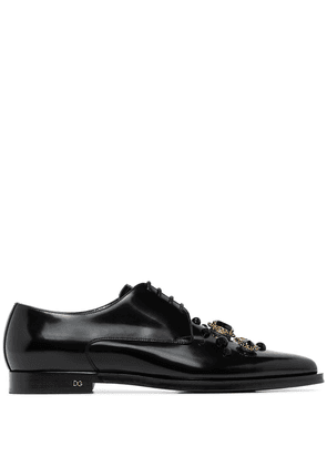 Dolce & Gabbana Millennial crystal-embellished leather derby shoes -