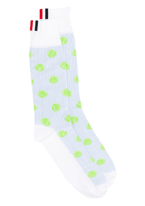 Thom Browne Tennis Ball Mid Calf Socks - Blue