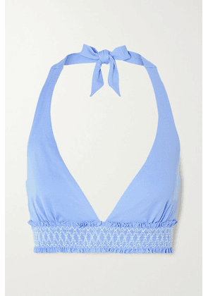 Heidi Klein - Andalucia D-g Smocked Underwired Halterneck Bikini Top - Light blue