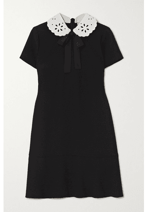 REDValentino - Broderie Anglaise-trimmed Crepe Mini Dress - Black