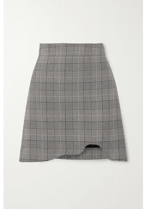 GANNI - Asymmetric Prince Of Wales Checked Woven Mini Skirt - Light gray
