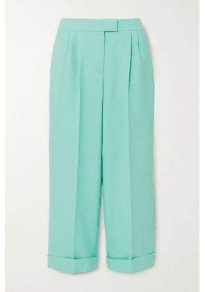 Ralph & Russo - Cropped Pleated Cotton-blend Crepe Wide-leg Pants - Mint