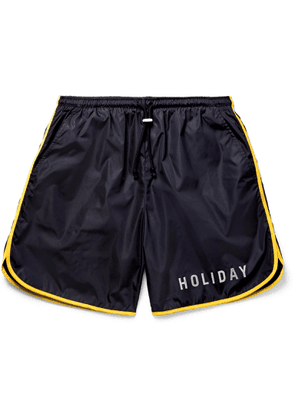 Holiday Boileau - The Lake Wide-leg Mid-length Piped Swim Shorts - Blue