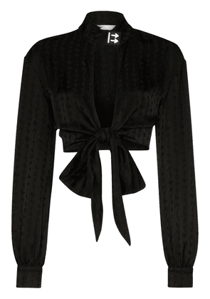 Off-White cropped front-tie blouse - Black