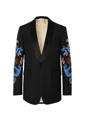 Gucci - Black Embroidered Satin-trimmed Wool And Mohair-blend Tuxedo Jacket - Multi