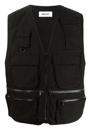 AMBUSH logo-print cotton gilet - Black