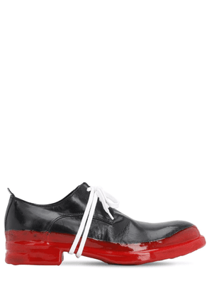 Leather Lace-up Shoes W/ Rubberized Sole