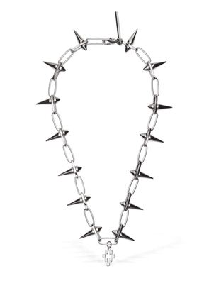 Logo Cross Studded Metal Necklace