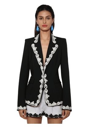 Embroidered Wool Blend Blazer Jacket