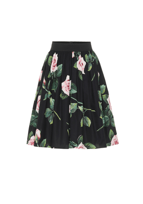 Floral cotton midi skirt