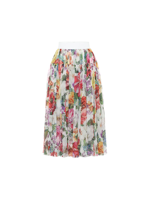 Pleated floral silk midi skirt