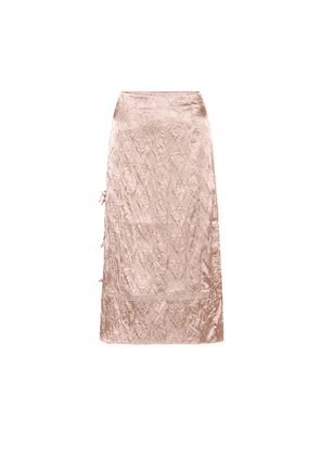Floral-embossed satin midi skirt