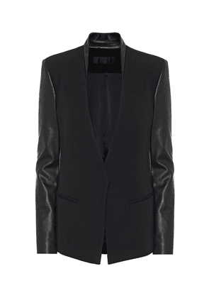 Leather and wool blazer