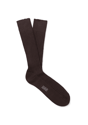 TOM FORD - Ribbed Cotton Socks - Brown