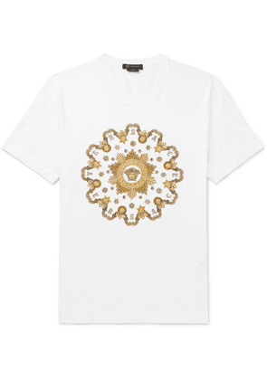 Versace - Slim-fit Metallic Embroidered Cotton-jersey T-shirt - White
