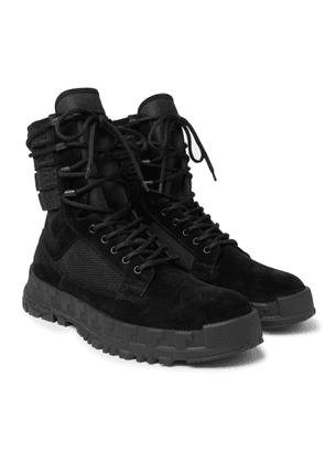 Versace - Logo Webbing-trimmed Suede And Mesh Boots - Black