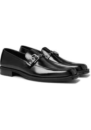 Versace - Buckled Glossed-leather Loafers - Black