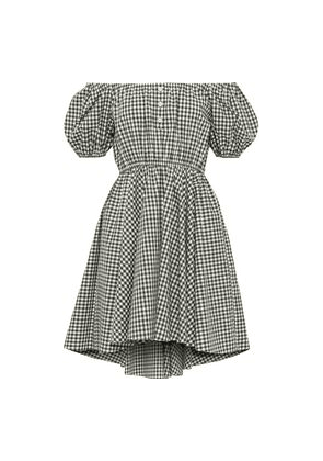Caroline Constas Bardot Off-the-shoulder Gingham Cotton-poplin Mini Dress Woman Army green Size M
