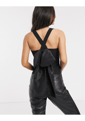 ASOS DESIGN cami top with extreme bow back detail-Black