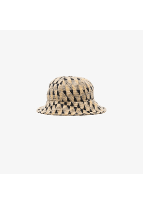 Song For The Mute beige and black woven bucket hat