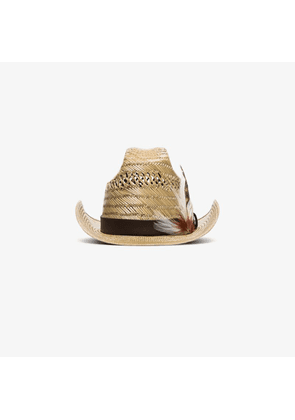 Saint Laurent neutral feather embellished straw trilby hat