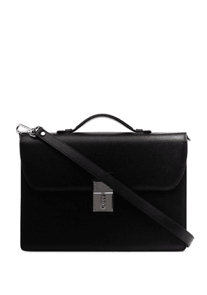 Canali black leather briefcase