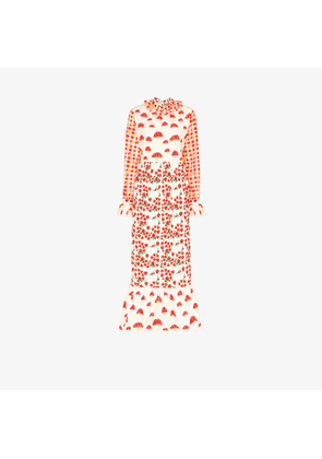 Helmstedt Womens Red Picnic Print Quilted Maxi Dress
