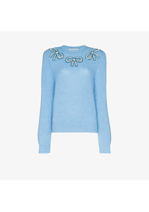 Alessandra Rich Sequins bow wool sweater