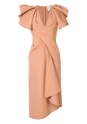 Acler Redwood ruffled-sleeve midi dress - Brown