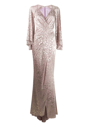 Talbot Runhof metallic-thread long dress - PINK