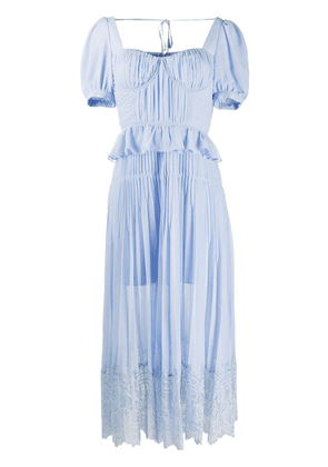Self-Portrait ruffle-trimmed pleated dress - Blue