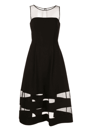 Aidan Mattox sheer panel flared dress - Black