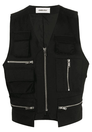 AMBUSH V-neck zip pocket waistcoat - Black