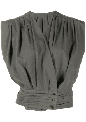 Lemaire sleeveless fitted wrap top - Grey