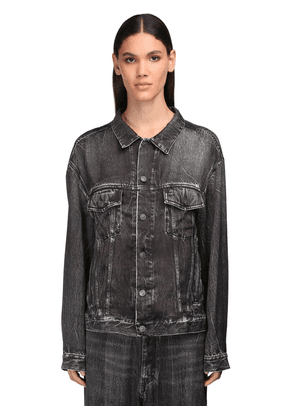 Denim Effect Printed Satin Shirt
