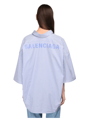 Oversize Striped Cotton S/s Shirt