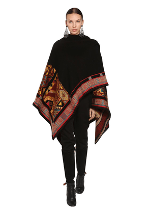 Embroidered Wool Blend Jacquard Shawl