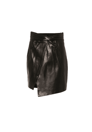 Wrap-front leather miniskirt